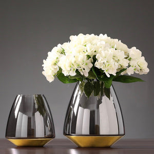 Mirrored Grey Glass Vase with Gold Base - Staunton and Henry
