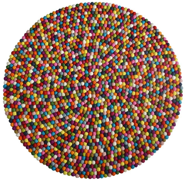 Multicoloured Felt Ball Rug - Staunton and Henry