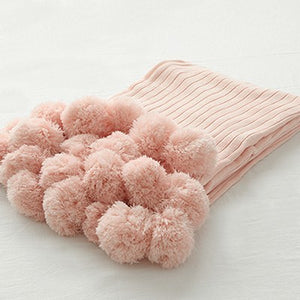 Pink Pom Pom Throw Blanket