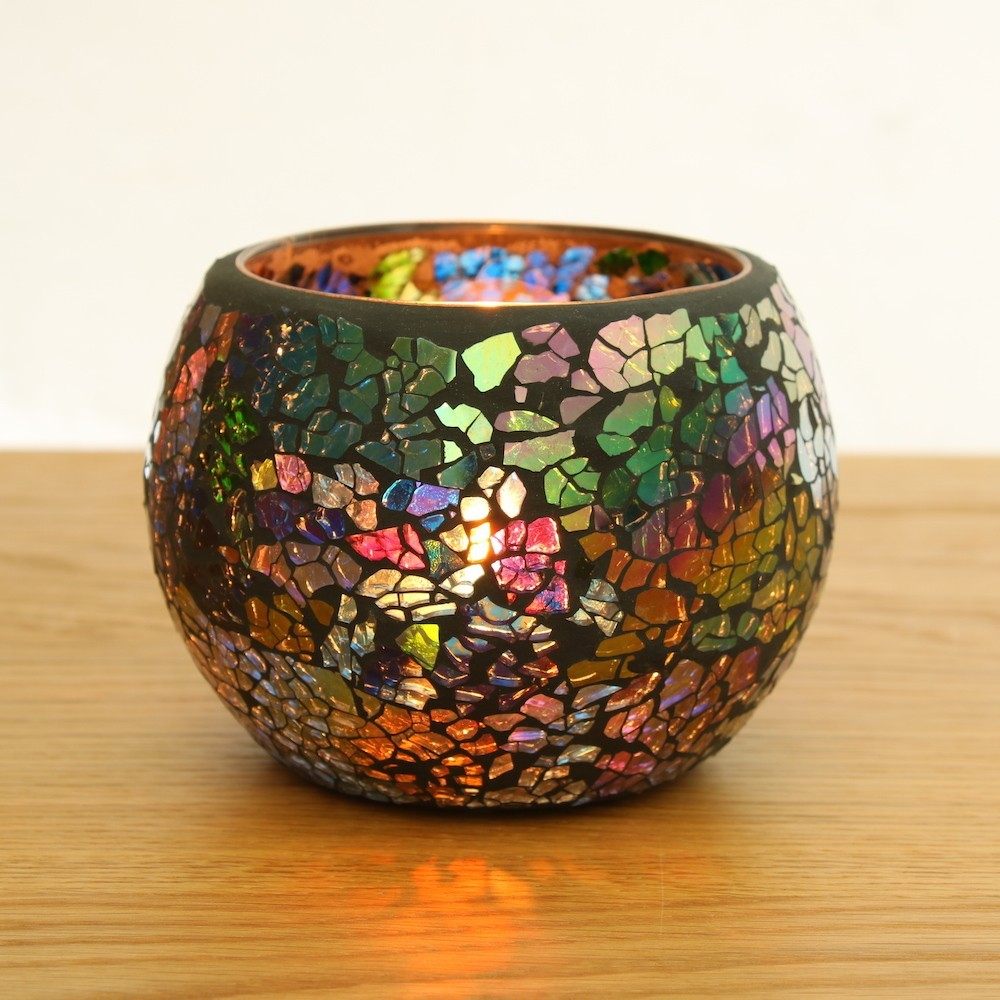 Black coloured glass mosaic candle holder