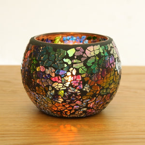 Black Coloured Glass Mosaic Candle Holder - Staunton and Henry