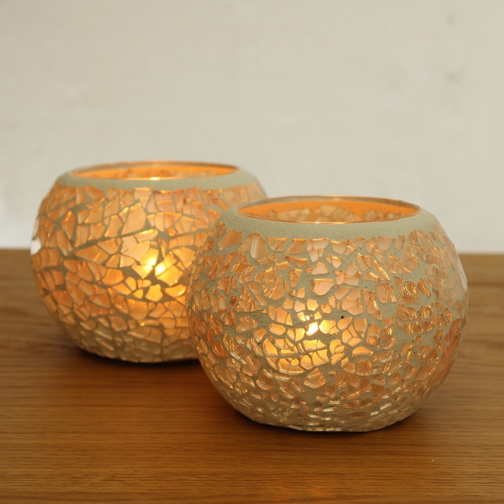 White glass mosaic candle holders set of 2