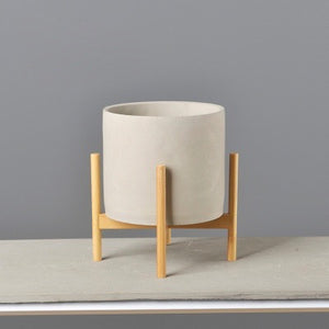 Modern Concrete Plant Pot With Wood Stand - Staunton and Henry
