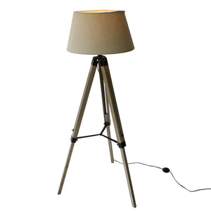 Wood Tripod Floorlamp with Black Shade