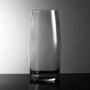 Hand-Blown Fluted Clear Glass Vase