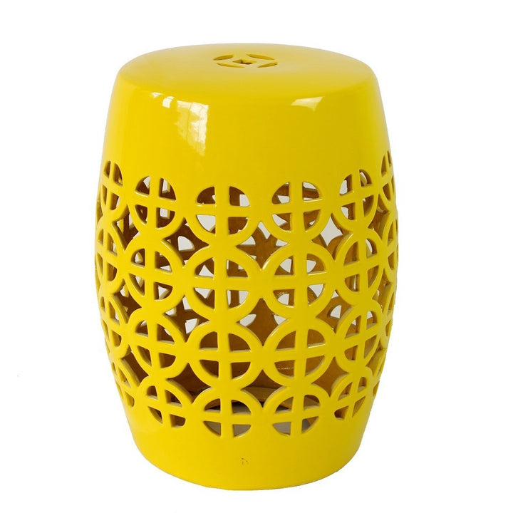 Yellow Ceramic Chinese Drum Stool - Staunton and Henry