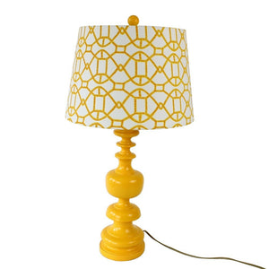 Modern Yellow Lamp & Patterned Shade - Staunton and Henry
