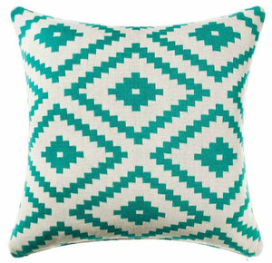 White & Turquoise Mexicola Throw Cushion - Staunton and Henry