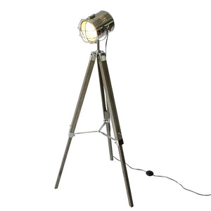 Wood Tripod Spotlight Floorlamp