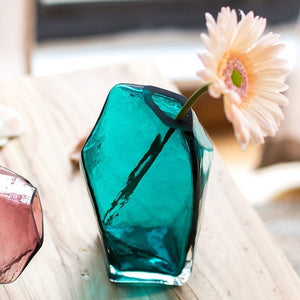 Colourful Faceted Glass Vases