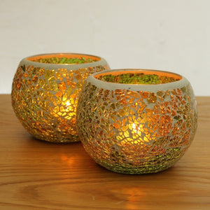 Green Glass Mosaic Candle Holders - Set of 2