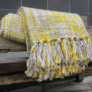 Yellow & Grey Throw Blanket with Tassles