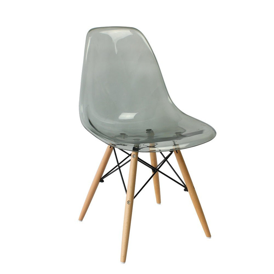 Eames DSW Style Chair Clear Smokey Grey - Staunton and Henry
