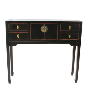 Modern Black Chinoiserie Console Table