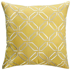 Yellow Embossed Pattern Throw Cushion