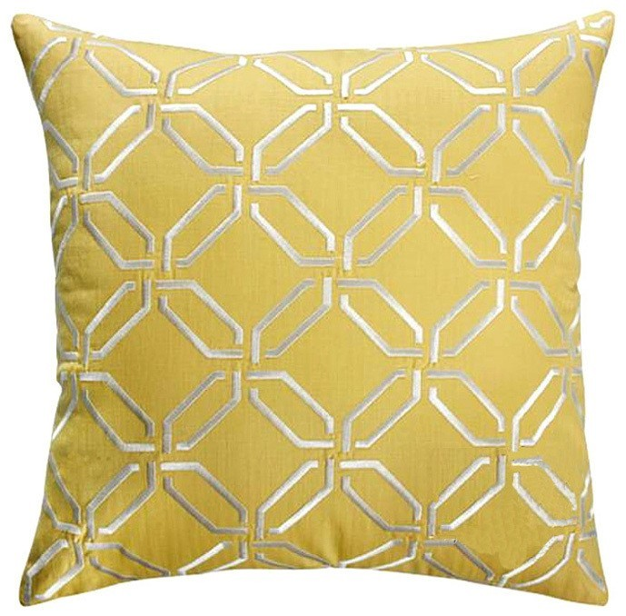 Yellow Embossed Pattern Throw Cushion - Staunton and Henry