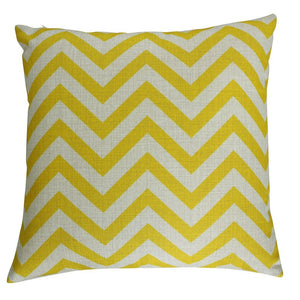 Yellow Chevron Pattern Throw Cushion