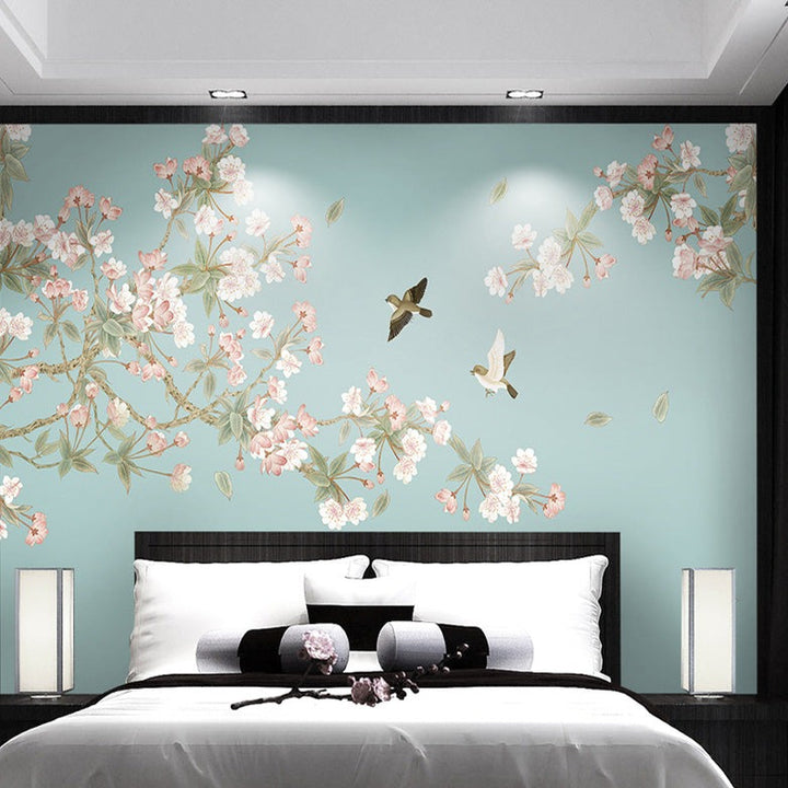 Blue Oriental Cherry Blossum Wall Mural - Staunton and Henry