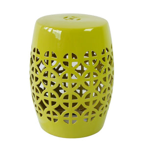 Lime Green Ceramic Chinese Drum Stool