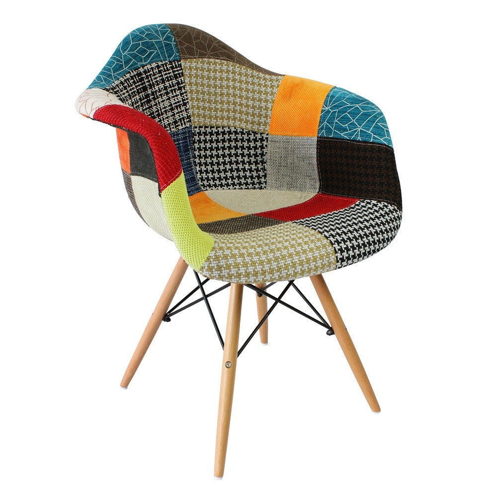 Eames DAW Style Chair   Patchwork Fabric