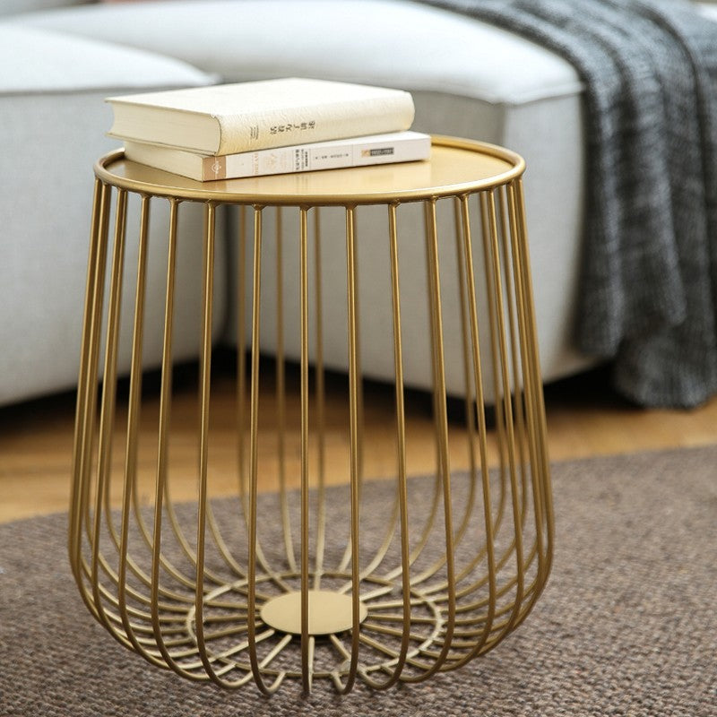Round Metal Frame Side Table