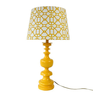 Modern Yellow Lamp & Patterned Shade