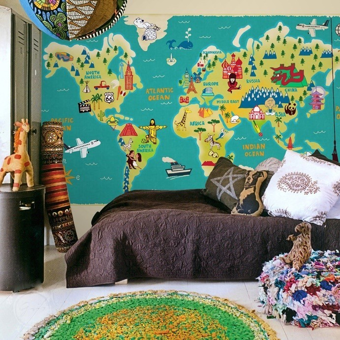 Buy kids world map wall murals at 20 off staunton and henry monochrome floral wall mural gumiabroncs Image collections