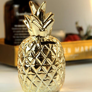 Ceramic Gold Pineapple Container