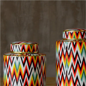 Colourful Chevron Pattern Urn Vases