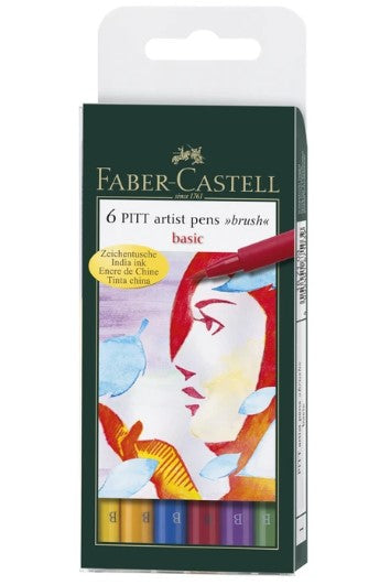"Faber-Castell - Pitt Artist Pen - Brush Tip - ""Basic"" set of 6 (4438873309271)"