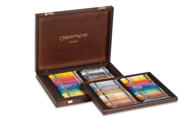 Caran d'Ache - Classic Neocolor II Water Soluble Wax Crayon - Wooden Box Set of 84