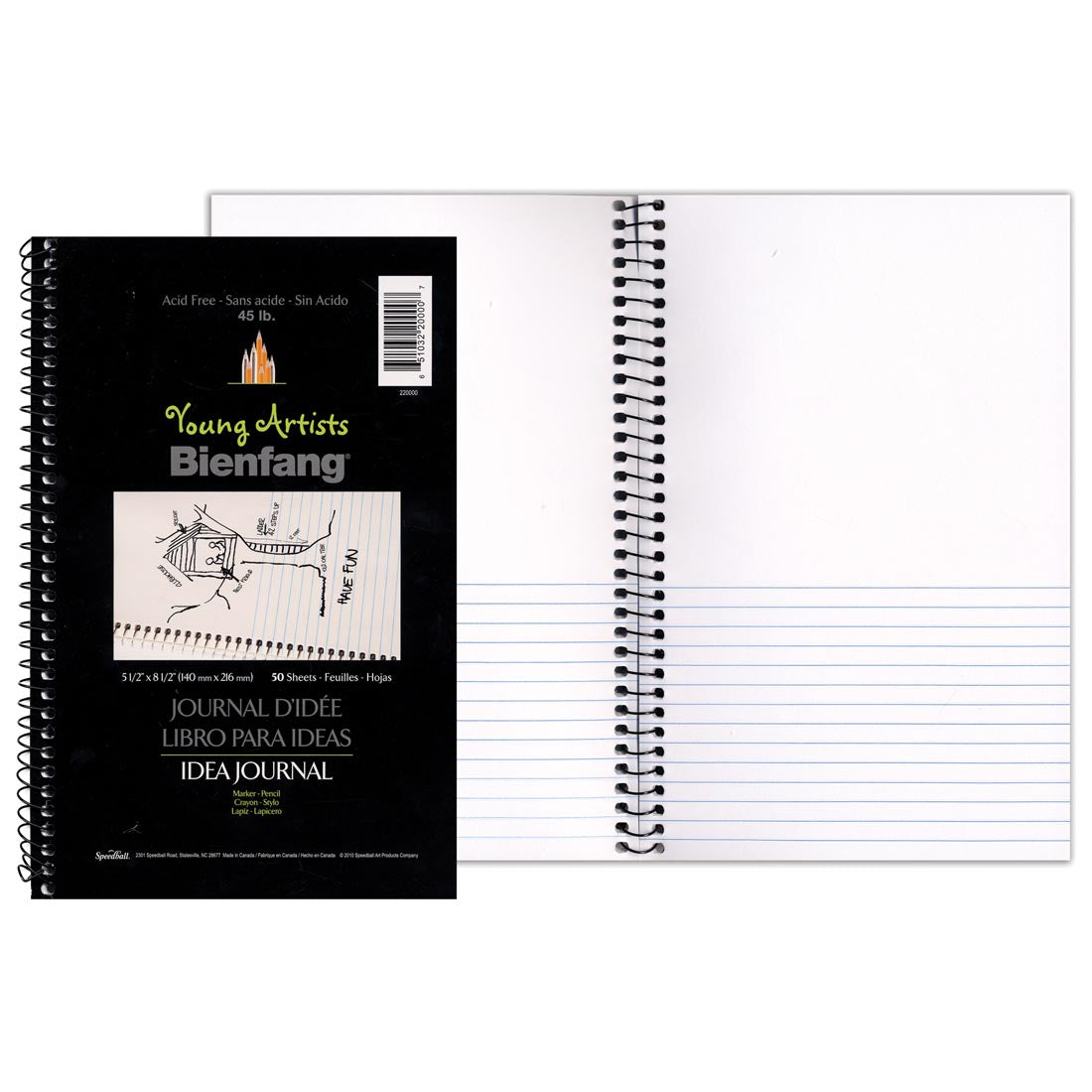 "Speedball - Young Artists Idea Journal (45 lb) White (Half-Lined) / 5.5""x8.5"" / 50 sheets (4548321640535)"