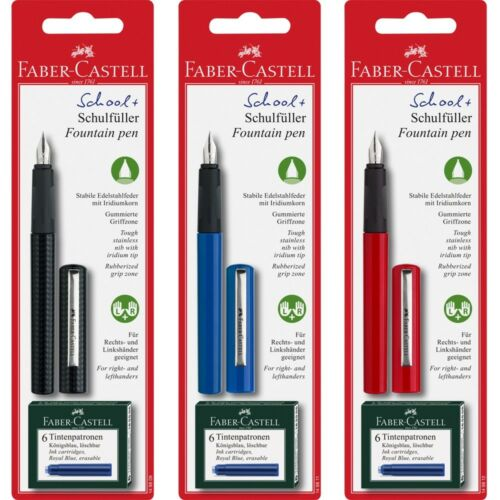 Faber-Castell - SCHOOL FOUNTAIN PEN W/6 INK CARTRIDGES (4438868983895)