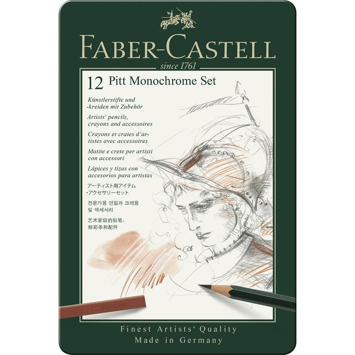 Faber-Castell - Pitt Monochrome Set - Tin of 12 (4438876487767)
