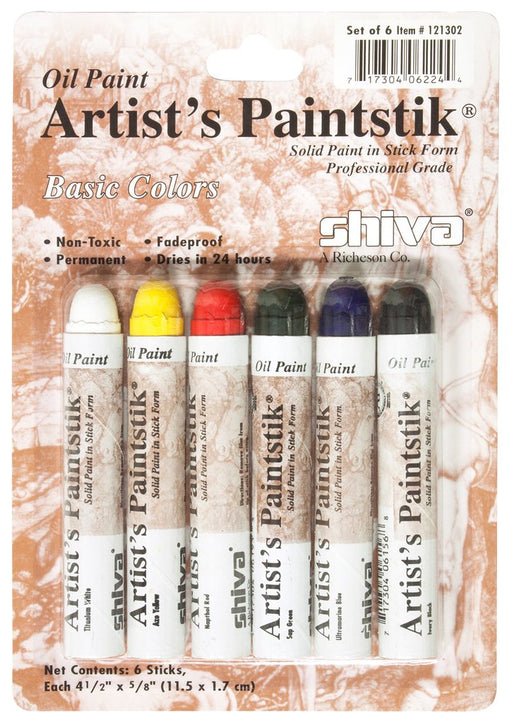 Jack Richeson - Shiva Paintstik - Set of 6 Basic Colours (4546963865687)