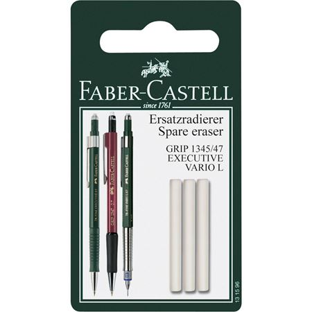 Faber-Castell - Grip 1345/47 spare erasers for mechanical pencil - set of 3 (4438872195159)