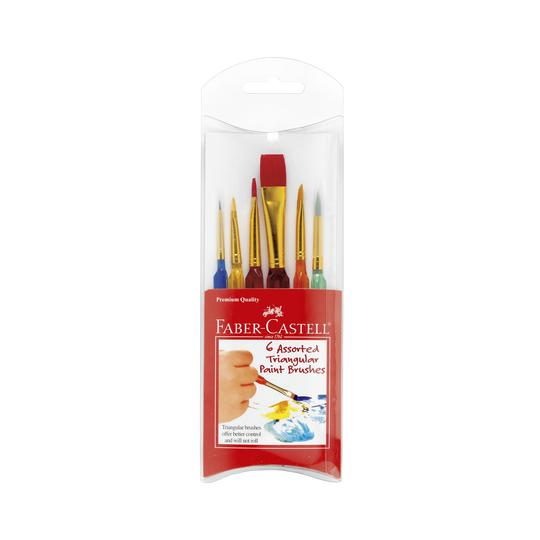 Faber-Castell - 6 Assorted Triangular Paintbrushes (4635797291095)