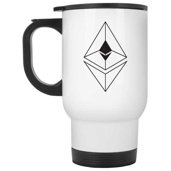 Ethereum line design - White Travel Mug