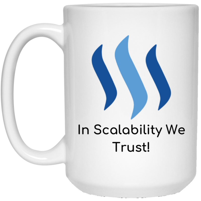 Steem in scalability we trust - 15 oz. White Mug