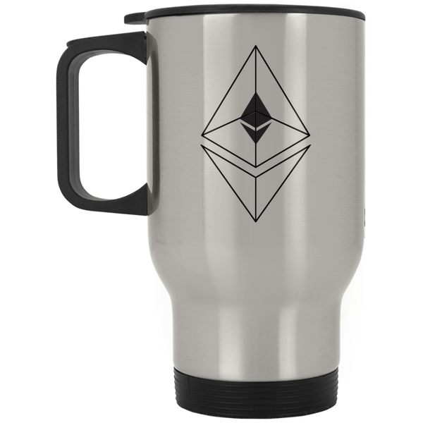 Ethereum line design - Silver Stainless Travel Mug