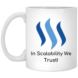 Steem in scalability we trust - 11 oz. White Mug