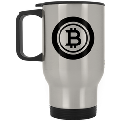 Bitcoin black - Silver Stainless Travel Mug