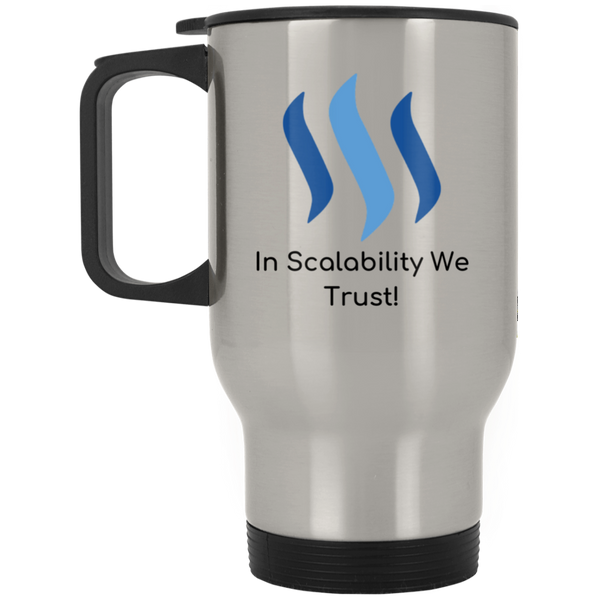 Steem in scalability we trust - Silver Stainless Travel Mug