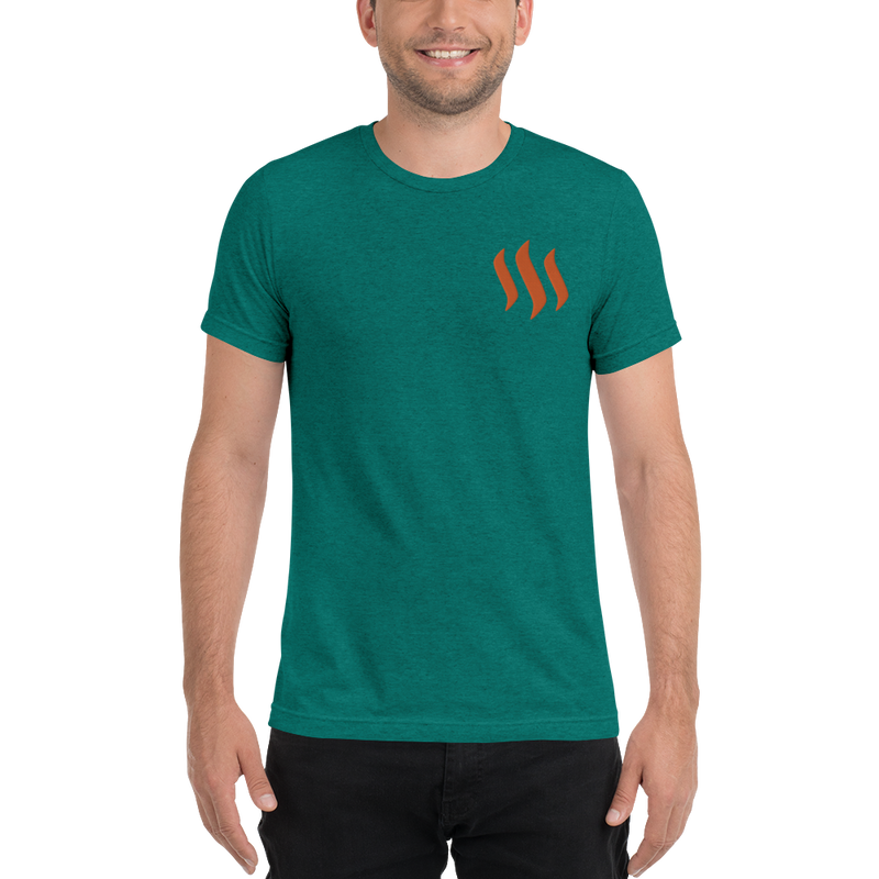 Steem – Men's Embroidered Tri-Blend T-Shirt