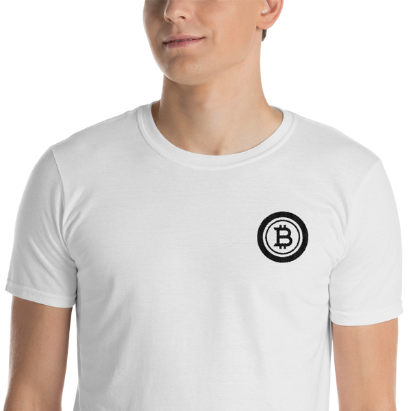 Embroidered bitcoin black - Men's T-Shirt