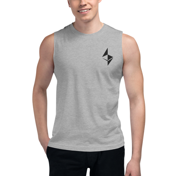 Ethereum surface design – Men's Embroidered Muscle Shirt