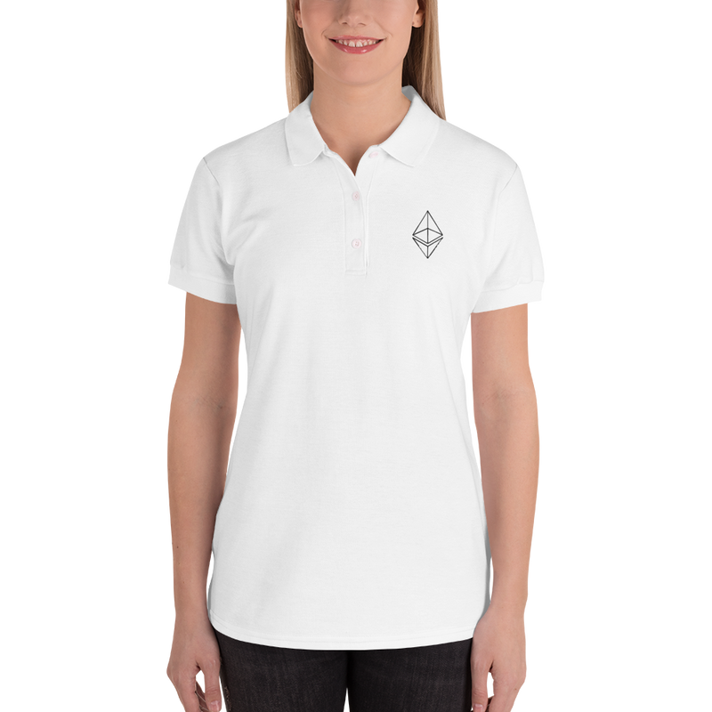 Ethereum line design - Women's Embroidered Polo Shirt