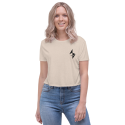Ethereum surface design - Women's Embroidered Crop Tee