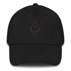 Ethereum line design (Orange) - Baseball Cap