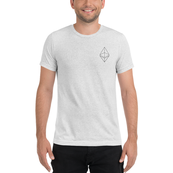 Ethereum line design - Men's Embroidered Tri-Blend T-Shirt